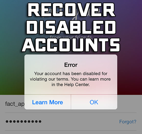 recover disabled instagram accounts